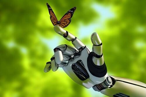 Mano de robot de mariposa