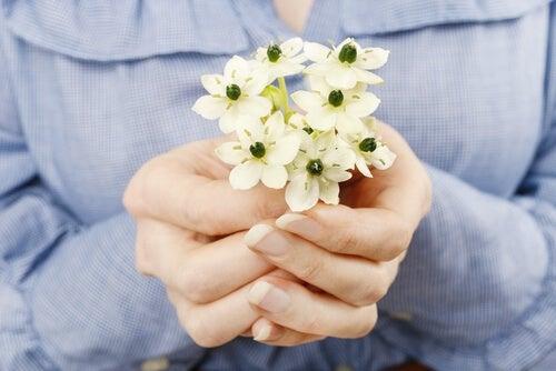 Manos ofreciendo flores para perdonar
