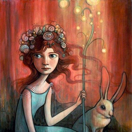 Niña con un palo y un conejo al lado