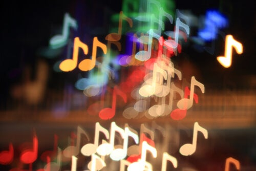 Notas de música de colores