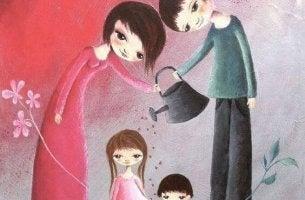 Padres regando a sus hijos con amor