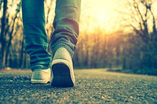 Pies andando sobre un camino