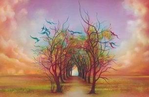 Camino de árboles fantasía