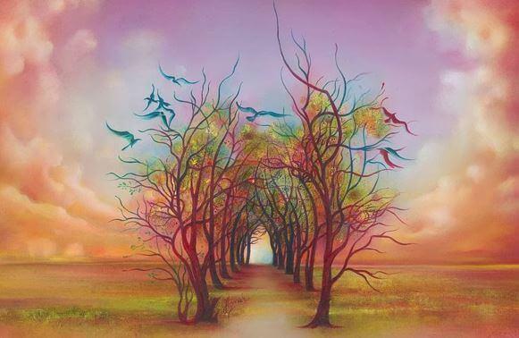 Camino de árboles fantasía simbolizando la sensibilidad