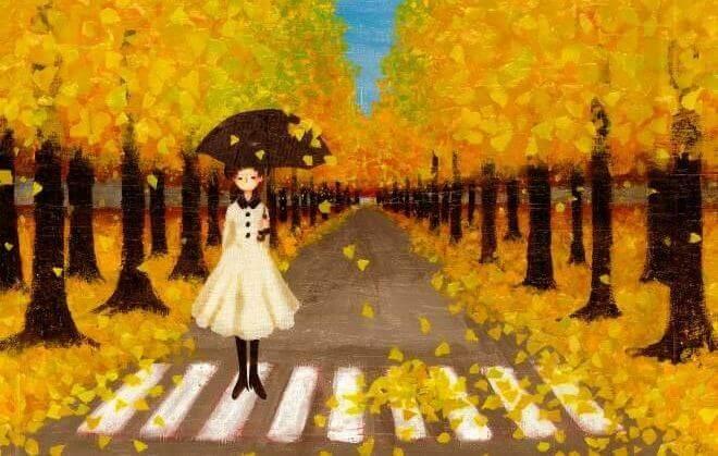 Chica en paso de cebra con árboles amarillos
