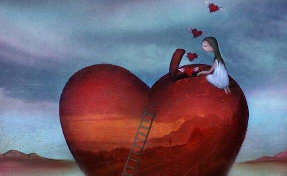 Chica subida a un corazón por una escalera liberando corazones de su interior