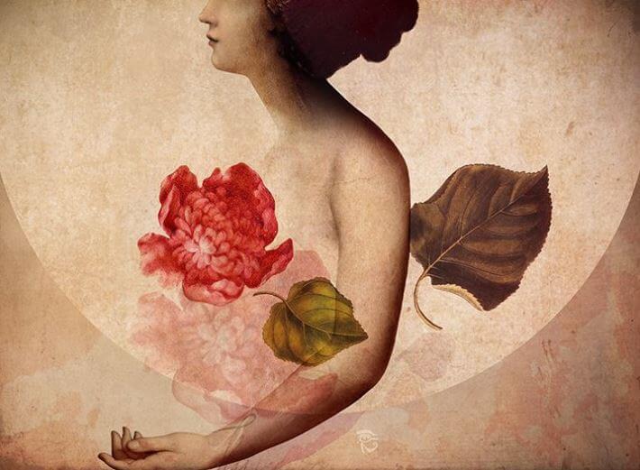 Mujer con corazón de flor