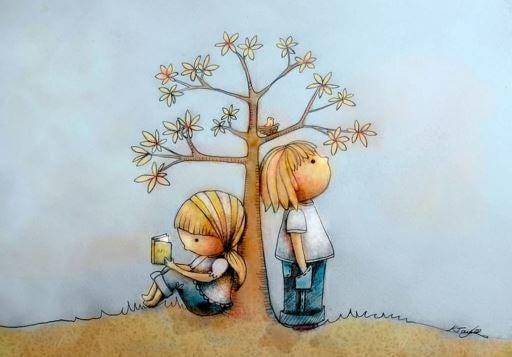 Niños leyendo cuentos muy felices