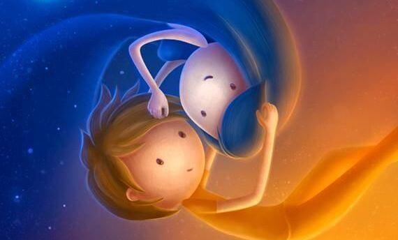 dos niños abrazándose simbolizando el día y la noche
