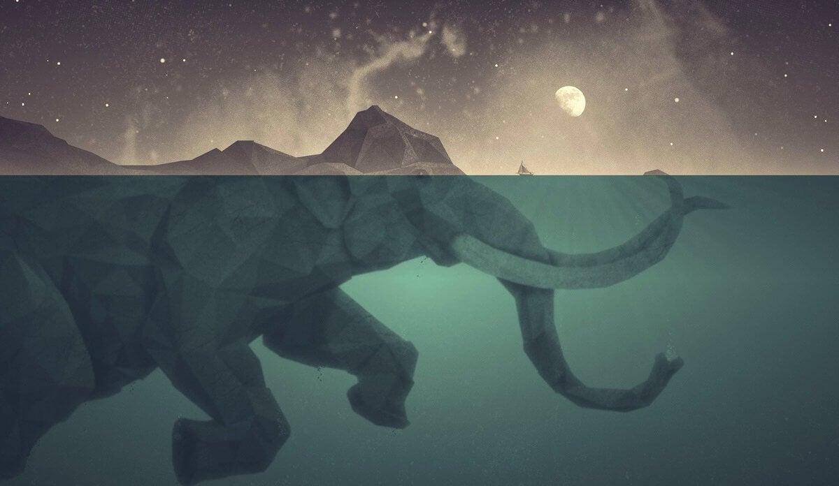 elefante bajo el agua