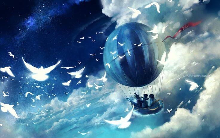 globo azul disfrutar en el viaje
