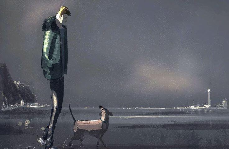 Hombre paseando con perro recordando su infancia