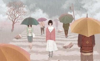 joven cruzando un paso de cebra entre la lluvia