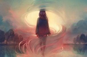 chica envuelta en una niebla rosada