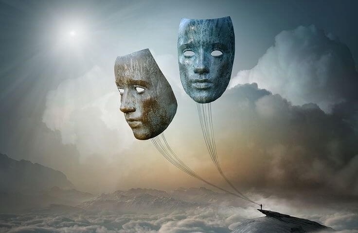 máscaras-sujetas-en-un-barco representando las emociones