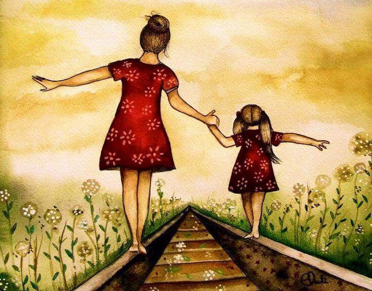 Madre e hija caminando por las vías del tren