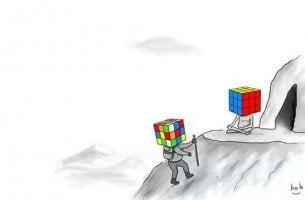 Meditación con cubo de rubik