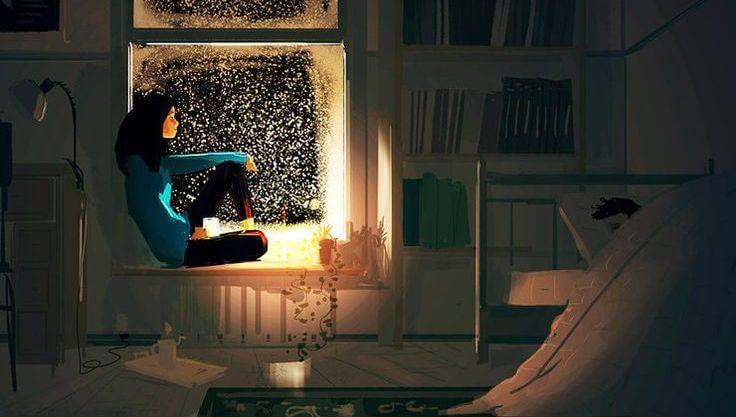 mujer asomada a la ventana por la noche