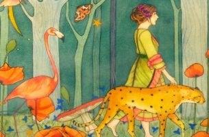mujer caminando rodeada de animales
