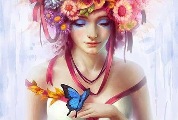 mujer con una mariposa azul