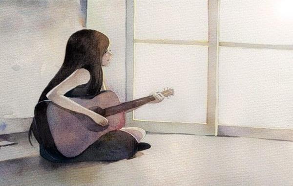 Mujer con guitarra sentada en el suelo