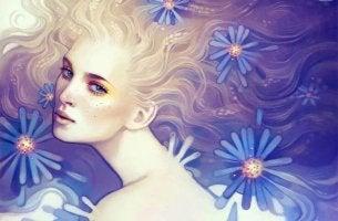 mujer envuelta en margaritas azules
