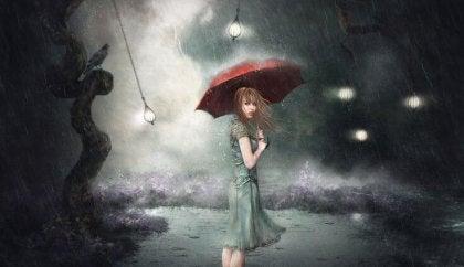 mujer con paraguas rojo