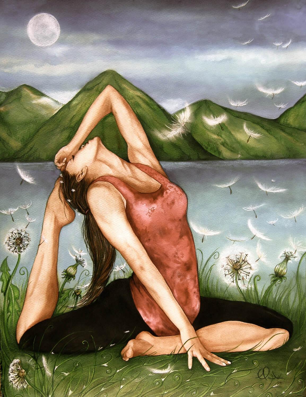 Mujer con plumas a su alrededor