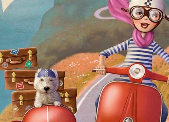 mujer en moto con su perro