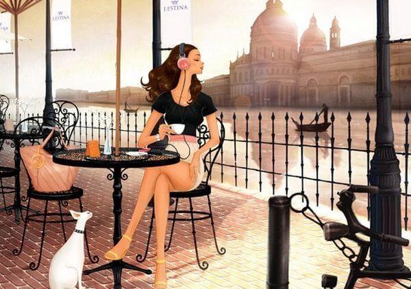 mujer en venecia sentada en una cafetería