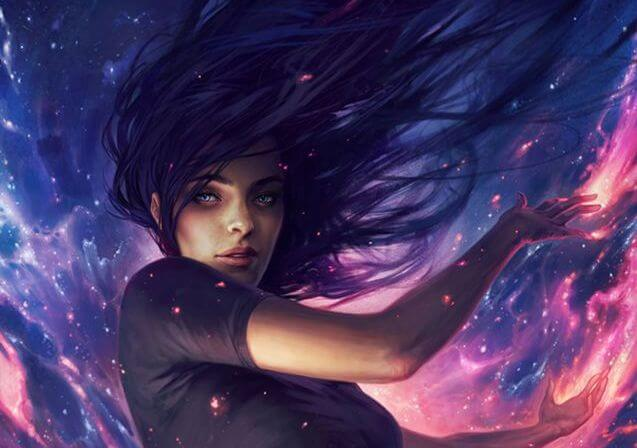 Mujer envuelta en fuegos azules y rosados