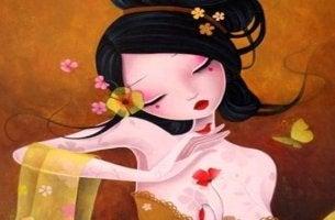 mujer-japonesa-con-pájaro-rojo-en-la mano