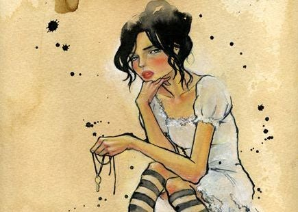 mujer libre cabello negro sentada