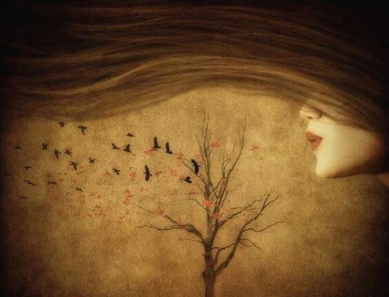 mujer soplando las ramas de un árbol recordando el pasado