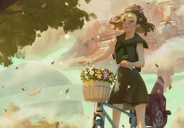 Niña con bici recordando buenos momentos