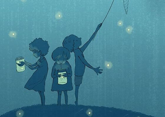 children with fireflies