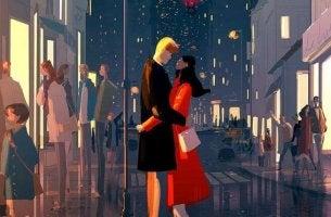 Pareja abrazada en la calle de una ciudad