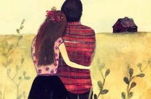 Pareja abrazada diciendo yo te elijo