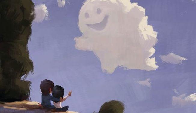 pareja frente a una nube sonriente