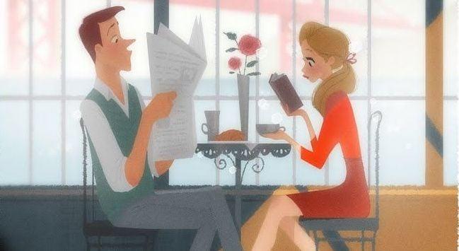 """Pareja sentada en un restaurante sin mirarse demostrando el """"yo no te importo"""""""