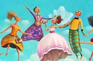 Personas saltando con el cielo azul de fondo