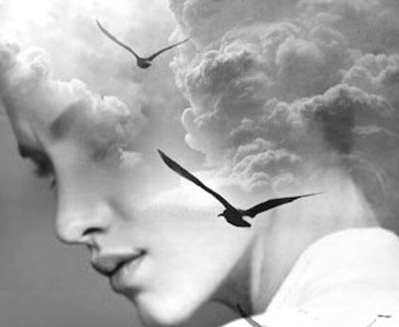rostro de mujer con pájaros en el centro representando las enfermedades de la mente