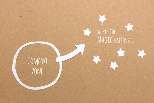 Dibujo con un circulo señalando en su interior la zona de confort