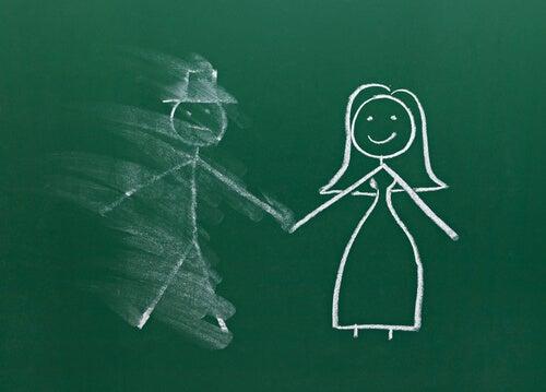 Dibujo de una pareja con el hombre borroso