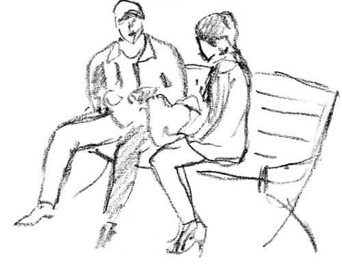 Dibujo de una pareja sentada en un banco representando el test de psicología de la pareja