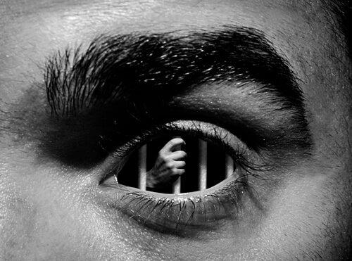 Ojo de una persona con una prisión en su interior