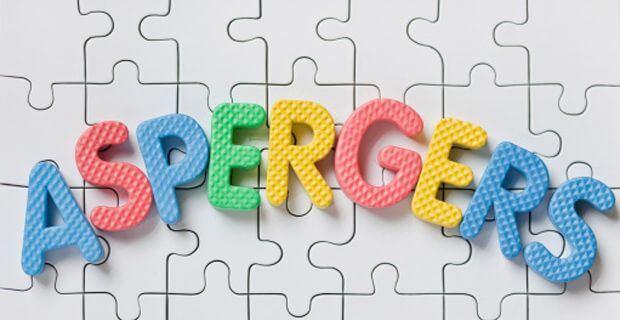 Palabra aspergers con letras de colores