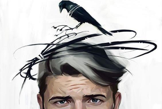 hombre con pájaro en la cabeza representando el mal humor