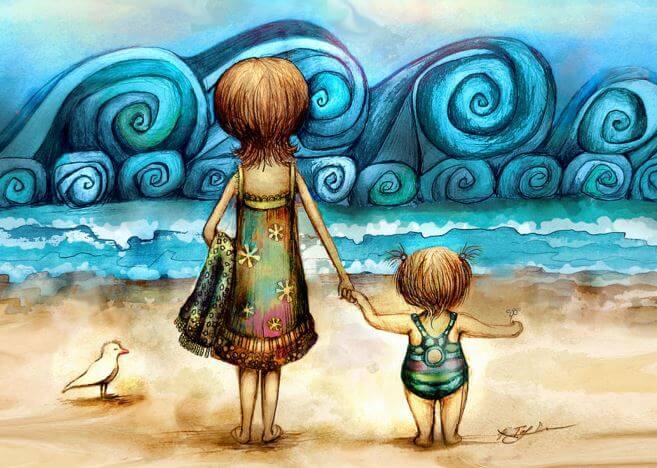 madre-y-niño-en-una-playa