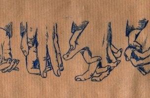 Manos dibujadas en el papel
